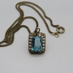 Vintage Art Deco Blue Glass &...