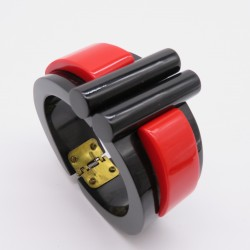 Chunky Hinged Black and Red Resin Cuff Bracelet by Marion Godart