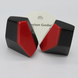 Large Geometric Black and Red Resin Earrings by Marion Godart