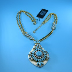 Vintage Necklace with Turquoise and Diamante Crystal Glass Stones