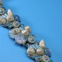 Art 1970s Vintage Bracelet Blue Enamel with Natural Shells