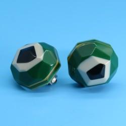 Hexagonal Funky Colourful Green Earrings by Marion Godart