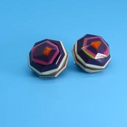 Hexagonal Funky Colourful Purple Earrings by Marion Godart