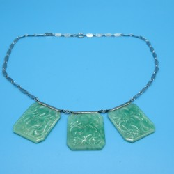 Vintage 1930s Czech Green Pecking Glass Necklace
