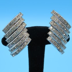 Butler and Wilson Silver Plated and Diamante Rhinestones Earrings