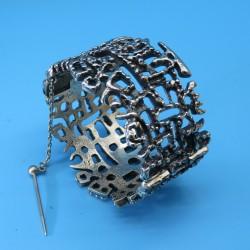 Guy Vidal Hinged Bracelet Modernist Abstract Pewter.