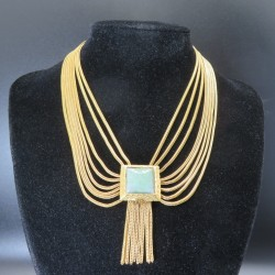 Vintage Gold Plated Multi Strand Necklace with Matching Tassel