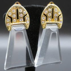 Vintage Lucite and Rhinestone Clip on Earrings Signed Dick Co