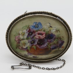 Antique Hand Painted Oval Silver Plated Brooch with a Flower Scene