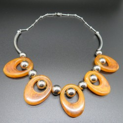 1930's Art Deco Orange Galalith Necklace by Jakob Bengel