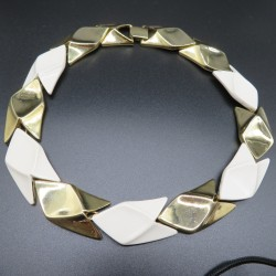 1990s Collar Necklace Gold Tone and Plastic Signed by Verducci